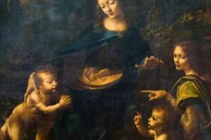岩石中圣母被斩首的恐怖画面 圣母用左手抓住她的头/耶稣斩首她的手指