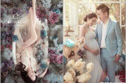 刘伊心拍孕妇写真 老公穿西装中暑护妻